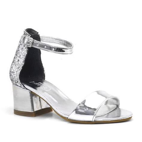 guemues aynali simli kalin topuklu kiz cocuk abiye ayakkabi