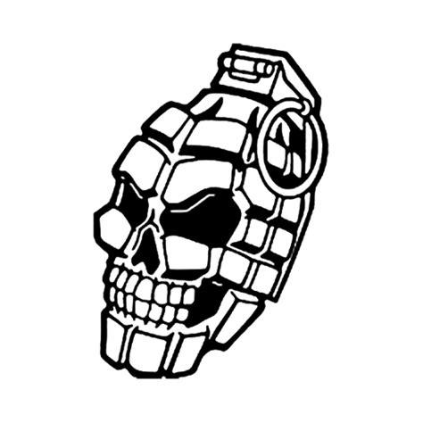 skull grenade die cut vinyl decal pv1178