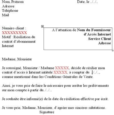 Exemple De Lettre De Résiliation B You La Lettre De R 233 Siliation En Question