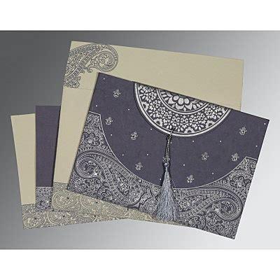 Handmade Indian Wedding Cards - blue handmade cotton embossed wedding invitations cin