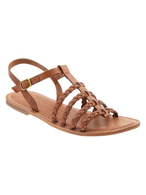 gap sandals gap braided multistrap sandal in brown luggage lyst
