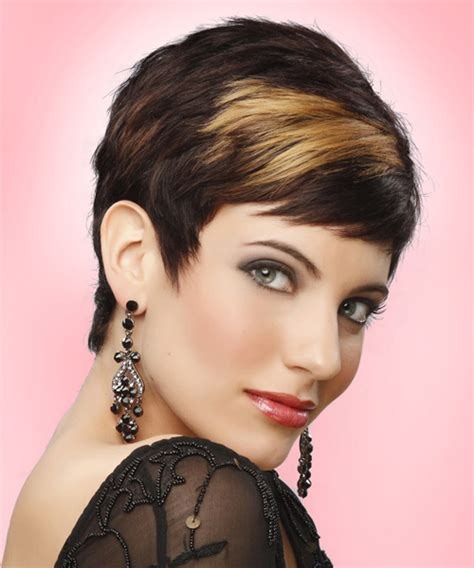 pixie haircut with height at crown short straight formal pixie hairstyle with side swept