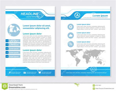 front page design template layout template size a4 front page and back page blue
