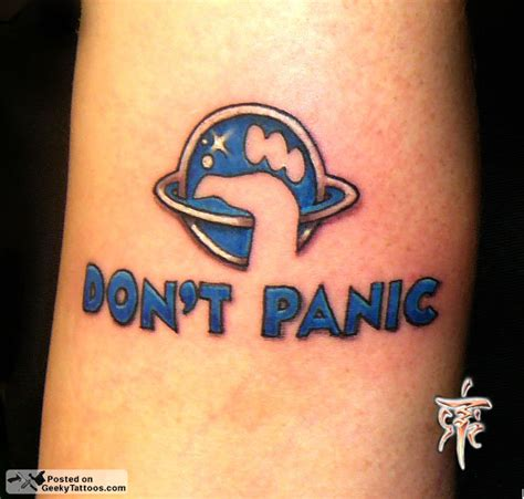 remember don t panic geeky tattoos