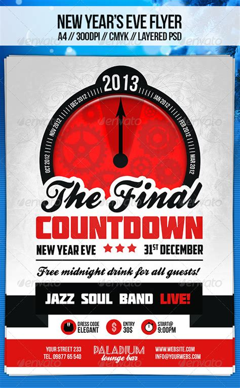 Retro New Year S Eve Flyer Template By Dodimir Graphicriver New Years Flyer Template