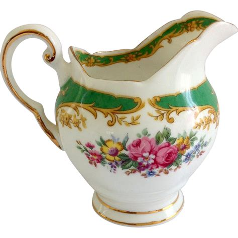 tuscan bone china naples green floral creamer from