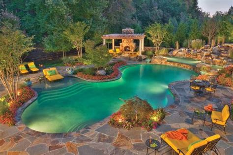 backyards with pools and landscaping