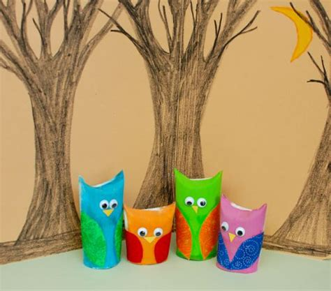 Crafts Using Paper Towel Rolls - owl family play set inner child