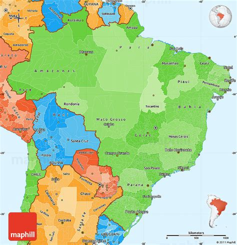 political map brazil political shades simple map of brazil