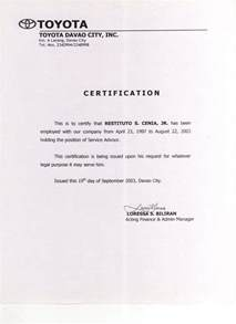 Free Sample Letter Of Employment Certification Print Photos View Full Size Image