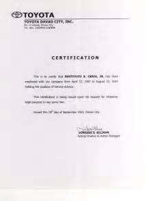 Certification Letter In The Philippines 9 Best Images Of Certificate Of Employment Template Employment Certificate Letter Sample