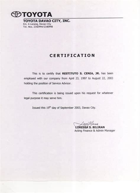 certification letter in the philippines 9 best images of certificate of employment template