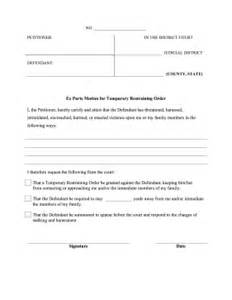 printable ex parte restraining order legal pleading template