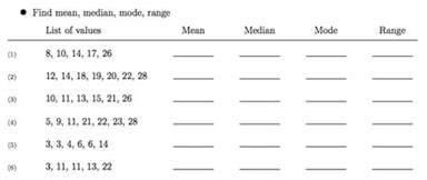 world 8 mean median mode range osky 6th grade math
