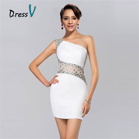 one shoulder prom dresses are very trendy aliexpress com buy hot trendy short white cocktail