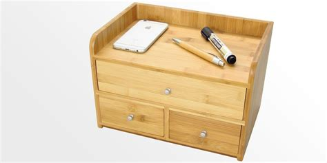 Large Kitchen Knives desk organiser with 3 drawers bamboo office supplies