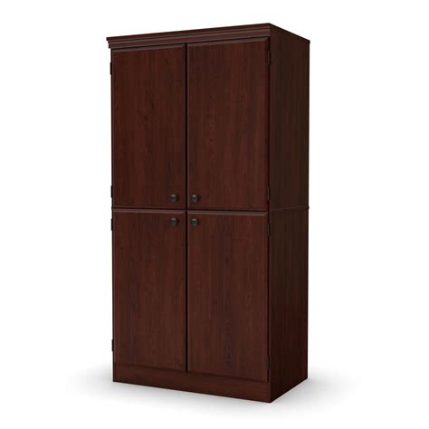 cherry wood storage cabinet with doors south shore morgan narrow storage cabinet