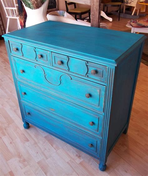 Turquoise Distressed Dresser by Distressed Turquoise Dresser Boutique
