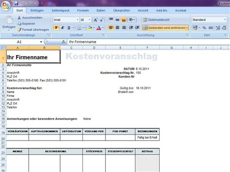 Angebot Muster Excel kostenvoranschlag muster angebot vorlage holidays oo