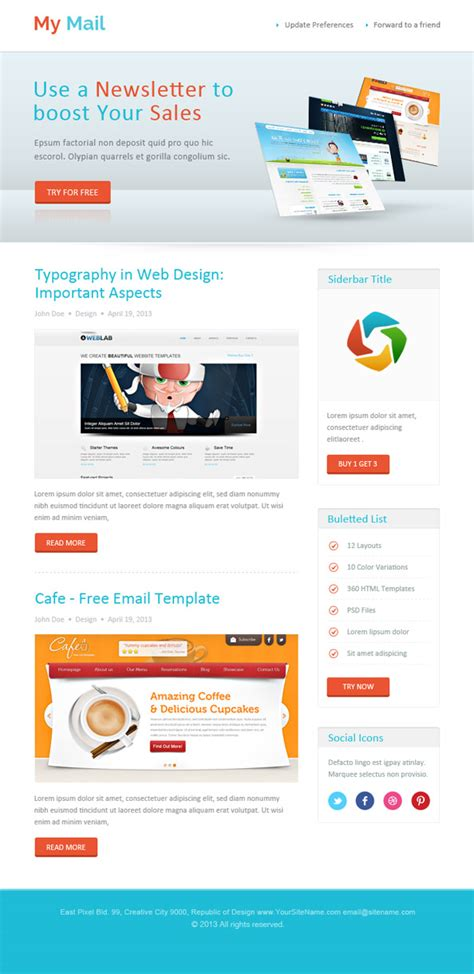abstract html newsletter template free mail templates