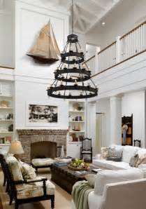 Nautical Living Room by Two Story Living Room Love The Light The Fireplace Just