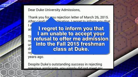 Rejection Letter Written To Duke Carolina Writes Rejection Letter To Duke S Rejection Letter Abc News