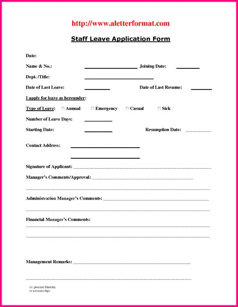 Leave Application Form Template by Ideas Collection 3 Staff Leave Form Template With