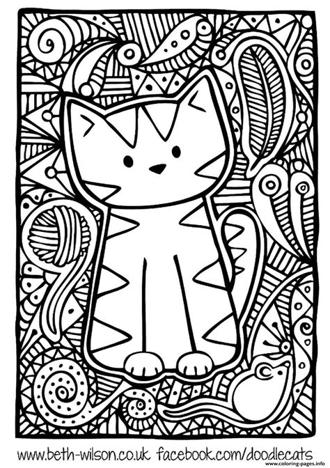 Coloring Page And Cat by Difficult Cat Coloring Pages Printable