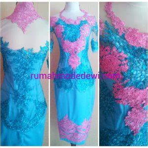 Ya Kebaya Cavali Blue Pink kebaya kombinasi pink tosca dengan rok bordir
