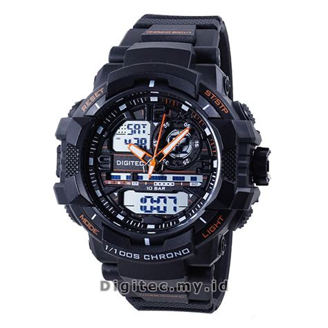 Jam Tangan Wanita Digitec Original Dual Time Black Green Tahan Air digitec dg 3021t black orange jam tangan sport anti air murah