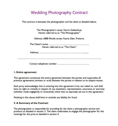 Agreement Letter For Photography Wedding Photography Contract Template 10 Free Documents In Pdf Word