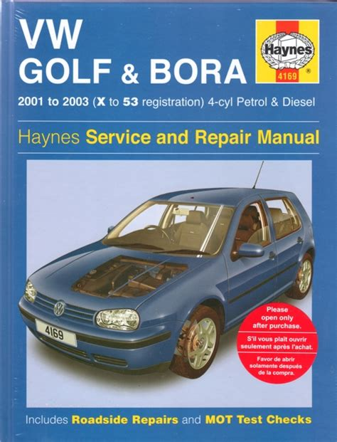 vw golf and bora service and repair manual haynes 2001 2003 new sagin workshop car manuals
