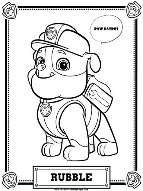 Paw Patrol Coloring Pages Rubble | Realistic Coloring