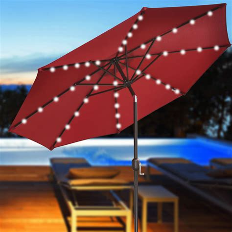 Lighted Patio Umbrella Solar Patio Umbrellas With Solar Lights March 2018