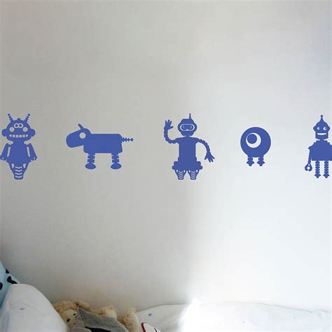 robotic wall robot wall stickers by all things brighton beautiful