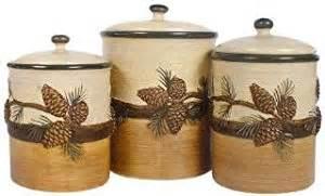 amazon com pine cone ceramic kitchen canister set 3