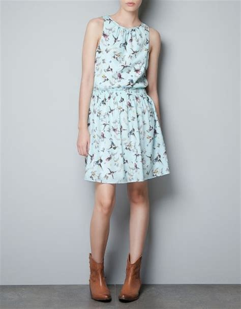 Zara Bird zara bird print dress in blue light blue lyst