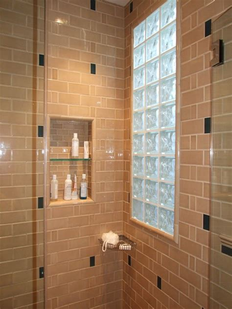 window in bathroom shower shower windows tiled shower and niche with glass block