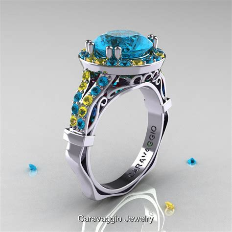 Blue Sapphire 4 0 Ct caravaggio 14k white gold 3 0 ct blue topaz yellow