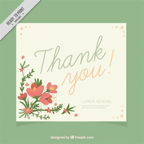beautiful thank you cards beautiful thank you card decorated with flowers vector