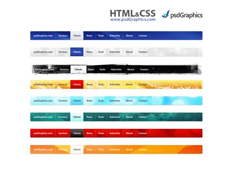 psd web navigation html and css menus set psdgraphics