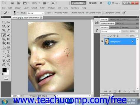 photoshop cs3 healing brush tutorial photoshop cs5 tutorial the spot healing brush tool adobe
