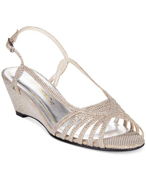 evening wedge sandals lyst caparros wedge evening sandals in metallic