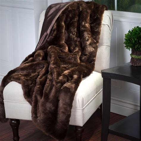 lavish home brown luxury haired faux fur throw 61 74
