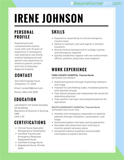 best rn resume format resume best format for nurses 2018 resume format 2017