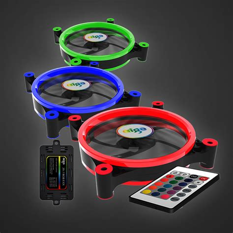 Remot Fan Casing Aigo And aigo 3 pack computer pc cooling fan rgb adjust led 120mm ir remote ebay