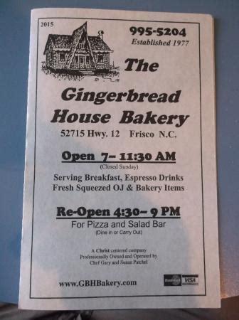 gingerbread house frisco nc menu bild fr 229 n gingerbread house bakery pizza frisco tripadvisor