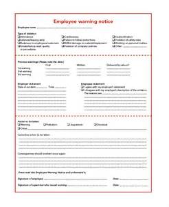 Employee Warning Notice Template by 6 Sle Employee Warning Notice Forms Sle Forms