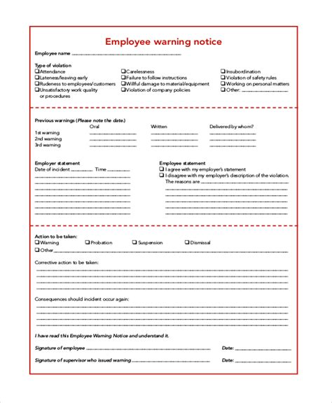 notice of personnel template 6 sle employee warning notice forms sle forms