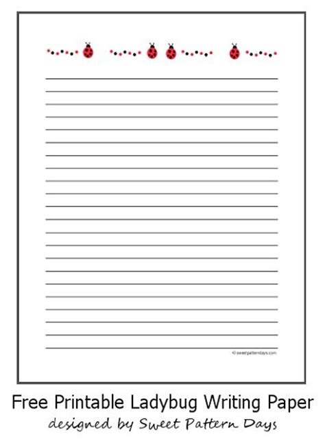 printable ladybug stationery small ladybugs lined writing paper stationery printables